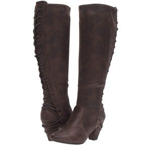 Brown lace up heeled boots